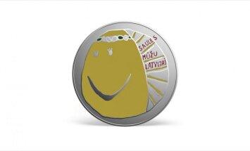 Šonedēļ LB izlaidīs sudraba kolekcijas monētu ar bērna zīmētu sauli reversā