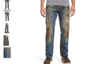 Akmeņus izpārdevušais 'Nordstrom' par 425 dolāriem piedāvā dubļainas džinsu bikses