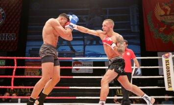 Foto: Spēcīgi sitieni, asas cīņas un nokauti šovā 'Klondaika Fight Arena'