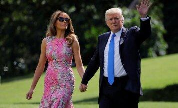 Foto: Melānija Trampa pārsteidz košā kleitiņā