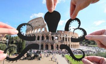 Fotogrāfs ar papīra figūriņām pasaules slavenākās vietas pārvērš smieklīgās bildītēs