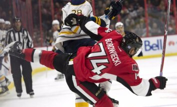 Buffalo Sabres Zemgus Girgensons Ottawa Senators Mark Borowiecki