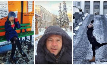 Foto: Pašmāju slavenības bauda ziemas priekus