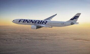 'Finnair' reiss Nr. 666 melnajā piektdienā lido uz Helsinkiem jeb 'HEL'