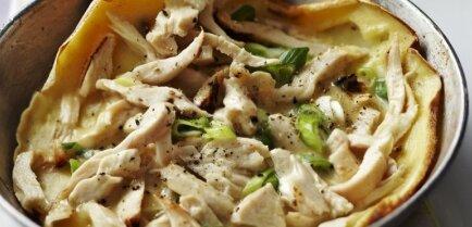 Блины на обед – с курицей и зеленым луком