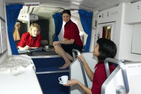 Slepenās gultiņas, kurās stjuartes guļ garu pārlidojumu laikā