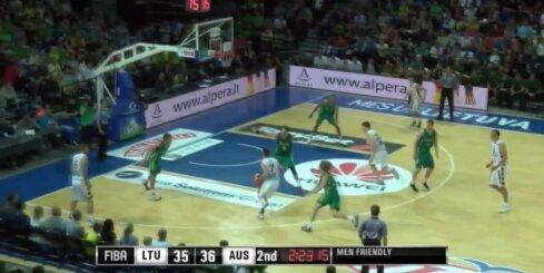 Lietuvas basketbolisti pēdējās minūtēs gūst 12 punktus pēc kārtas un uzvar Austrāliju