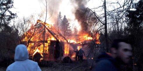 Mangaļsalas mežā nodeg māja