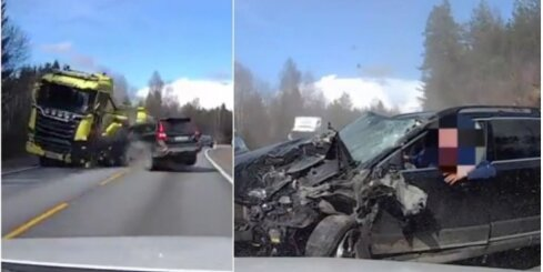 'Volvo' autovadītājam paveicas frontālajā sadursmē ar kravas auto