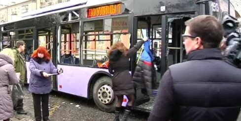 Traģēdija Doņeckā - trolejbusa apšaudē iet bojā vairāki cilvēki