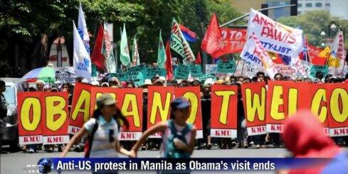 Filipīnās izdzenā pretamerikāniskus protestētājus