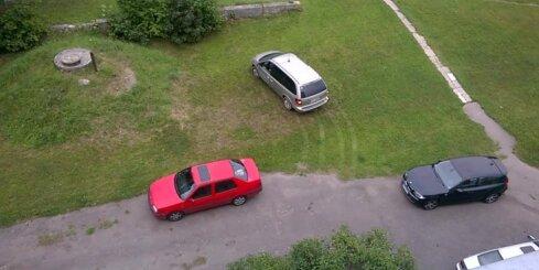 Autovadītājs nekaunīgi brauc pa zālienu