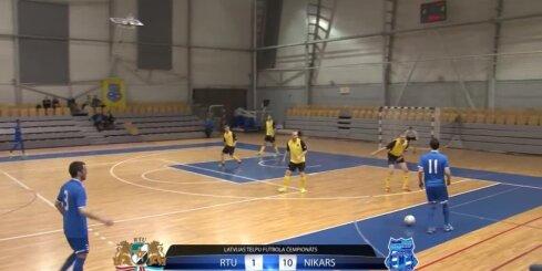 Telpu futbola čempionāta spēles 'RTU' - 'NIKARS' vārtu guvumi