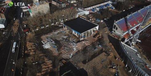 Drona video: Daugavas stadiona būvdarbi