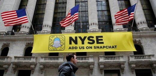 'Snapchat' debitē fondu tirgū; akcijas cena piedzīvo superlēcienu