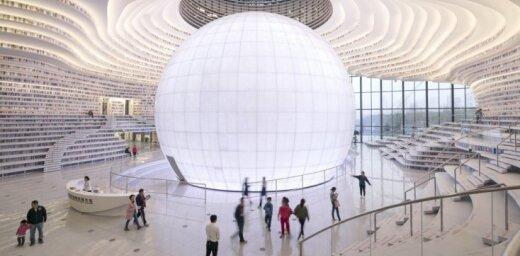 Foto: Futūristiskā Ķīnas bibliotēka 'Acs' – 1,2 miljoni grāmatu 34 tūkstošos kvadrātmetru