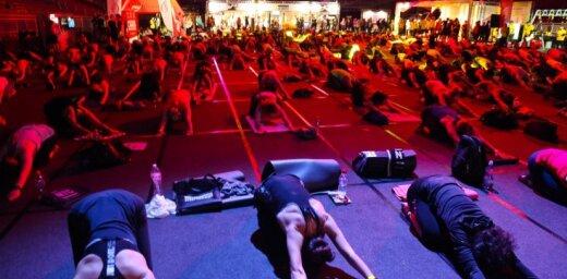 Foto: 'Arēnu Rīga' uz kopēju treniņu pulcējas fitnesa entuziasti