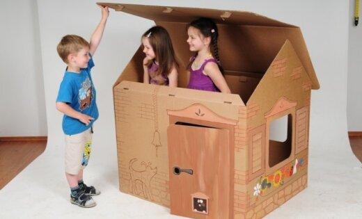 Как построить домик из картона для детей