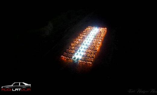 ФОТО, ВИДЕО: Фанаты Audi выложили из 140 автомобилей флаг Латвии
