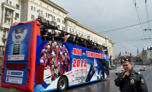 Fotoreportāža: Maskavā sumināta Krievijas hokeja izlase