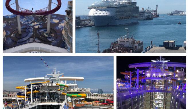 Foto: Izmēģinājuma braucienā devies pasaules lielākais kruīza kuģis