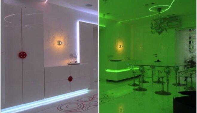 Foto: LED gaismām izskaistinātais mājoklis Indijā, kas iedzīvotājiem atgādina naktsklubu