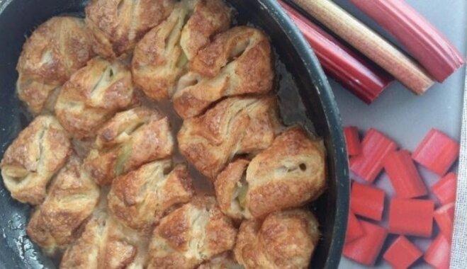 Elementārie kārtainās mīklas pīrādziņi ar rabarberu pildījumu