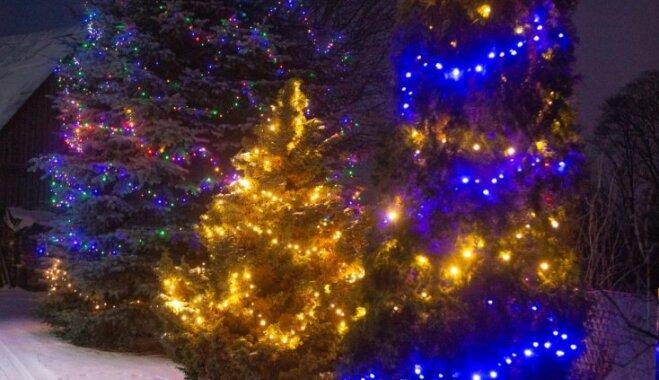 Foto: Ķekavas novadā noskaidrotas krāšņākās ēkas Ziemassvētku noformējumā