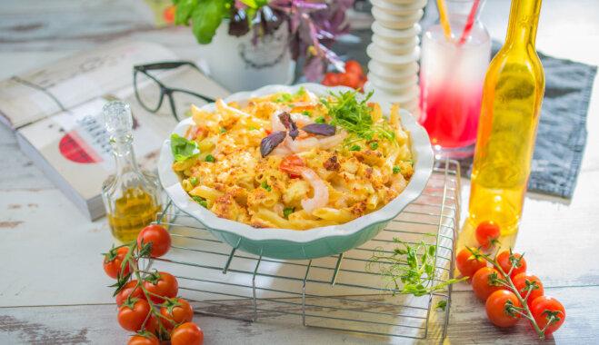 Запеканка с креветками и двумя сырами