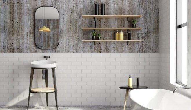 Foto idejas, kā vannasistabā efektīgi izmantot izsmalcināto melno krāsu