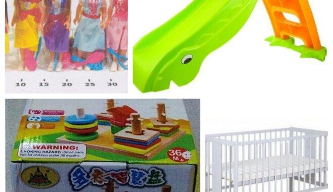 Brīdina par tirdzniecībā pieejamu bīstamu bērnu slidkalniņu, gultiņu un virkni rotaļlietu