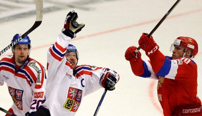 Russia vs Czech Euro Hockey Tour, Vladimir Tkacjov vs Jan Kovar and Petr Vrana