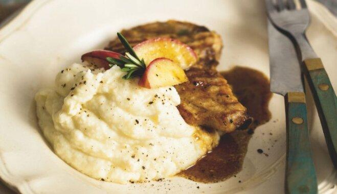 Seleriju, kartupeļu un ābolu biezputra ar mascarpone sieru