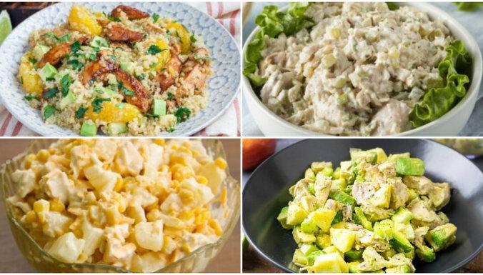 Krēmīgi vistas salāti – sātīgi un gardi: 12 receptes, ko ir vērts izmēģināt