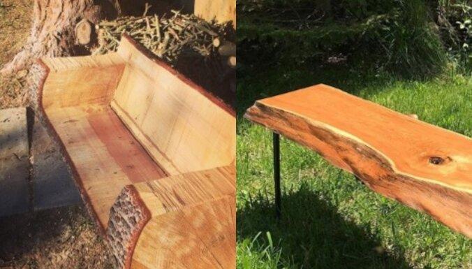 Iedvesmas deva tavam dārzam: pašu gatavoti koka soliņi