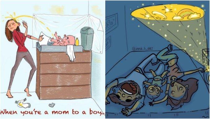Foto: Mūsdienu mammas ikdiena jestrās karikatūrās