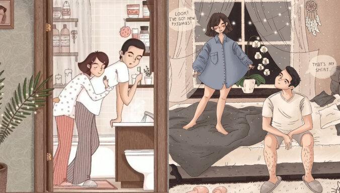12 ilustrācijas, kas atspoguļo ikdienišķos kopābūšanas brīžus attiecībās