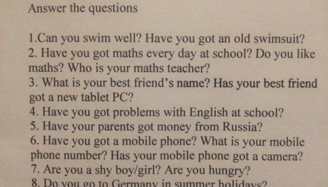 """Вопрос из школьного задания по английскому языку: """"Получают ли твои родители деньги из России?"""""""