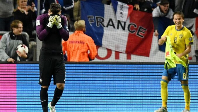 France goalkeeper Hugo Lloris reacts after goal from Sweden