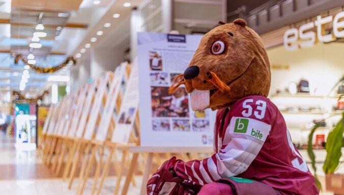 Foto: Kurš 'uzkurinās' līdzjutējus - novērtē PČ hokejā Rīgā talismana kandidātus