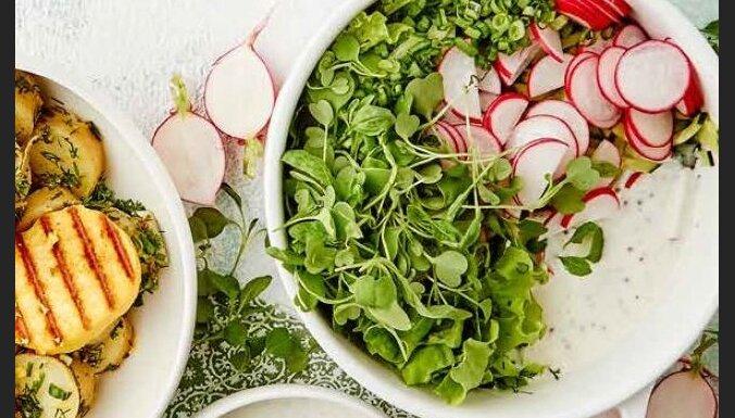 Vasarīgie zaļumu un redīsu salāti kefīra mērcē