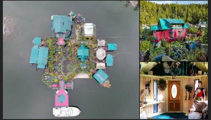 Foto: Fascinējoša peldošā sala Kanādā ar ēkām un pat mazdārziņu
