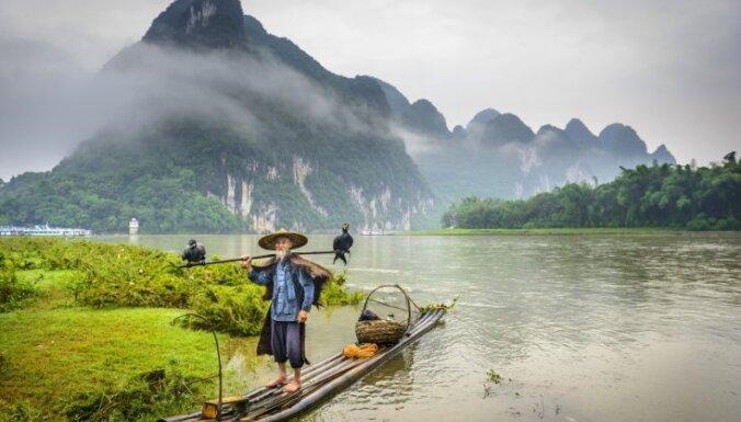 Zīda lentei līdzīgā Lī upe Ķīnā, kurā zvejo ar sagūstītiem putniem