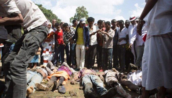 Vismaz 50 cilvēki Etiopijā sabradāti pret valdību vērstā protestā