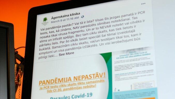 'Pandēmija nepastāv' — policija vērtē 'Āgenskalna klīnikas' ierakstu 'Facebook'