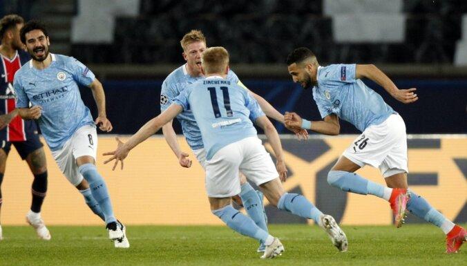 Mančestras 'City' otrajā puslaikā atgūstas un pieveic PSG pirmajā pusfināla spēlē