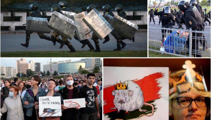 Foto un video: Pēc Lukašenko pašinaugurācijas drošībnieki izklīdina protestētāju tūkstošus