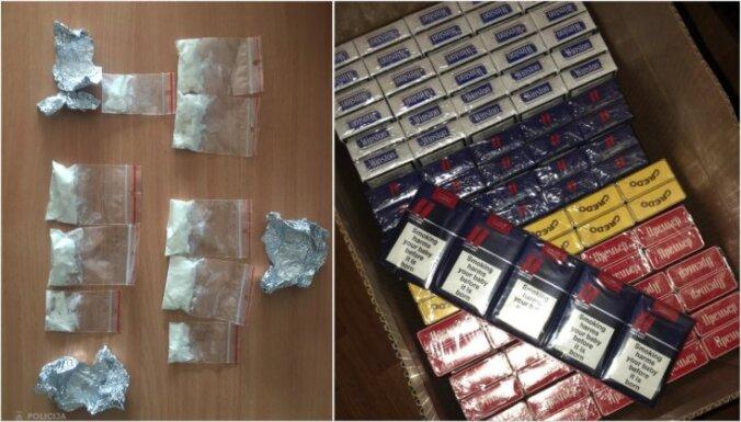 ФОТО. Полиция изъяла в Риге и Юрмале наркотики и контрабандные сигареты