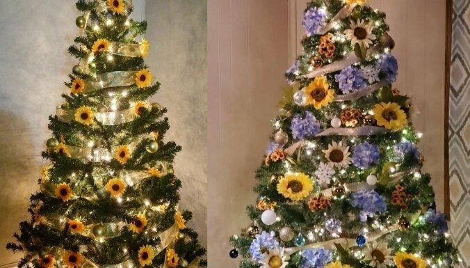 Jauna eglīšu rotāšanas tendence – milzu saulespuķes
