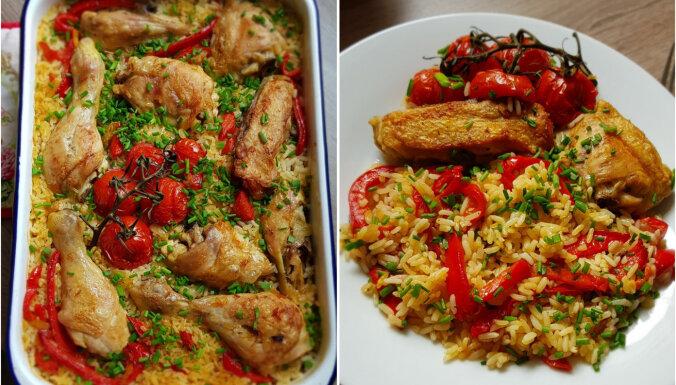 Vista ar rīsiem un papriku cepeškrāsnī